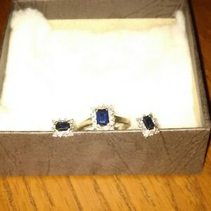 sapphire/diamond ring and matching earrings