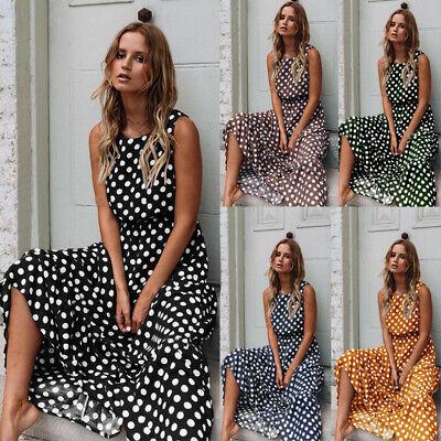Womens Sleeveless Polka Dot Maxi Dress Ladies Summer Beach Holiday Vintage Dress