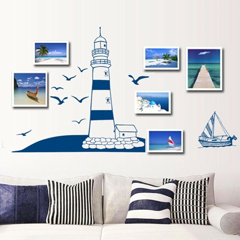 Home Decoration - Lighthouse Sea Boat Wall Sticker Nautical Decal Bathroom Home Decoration UK