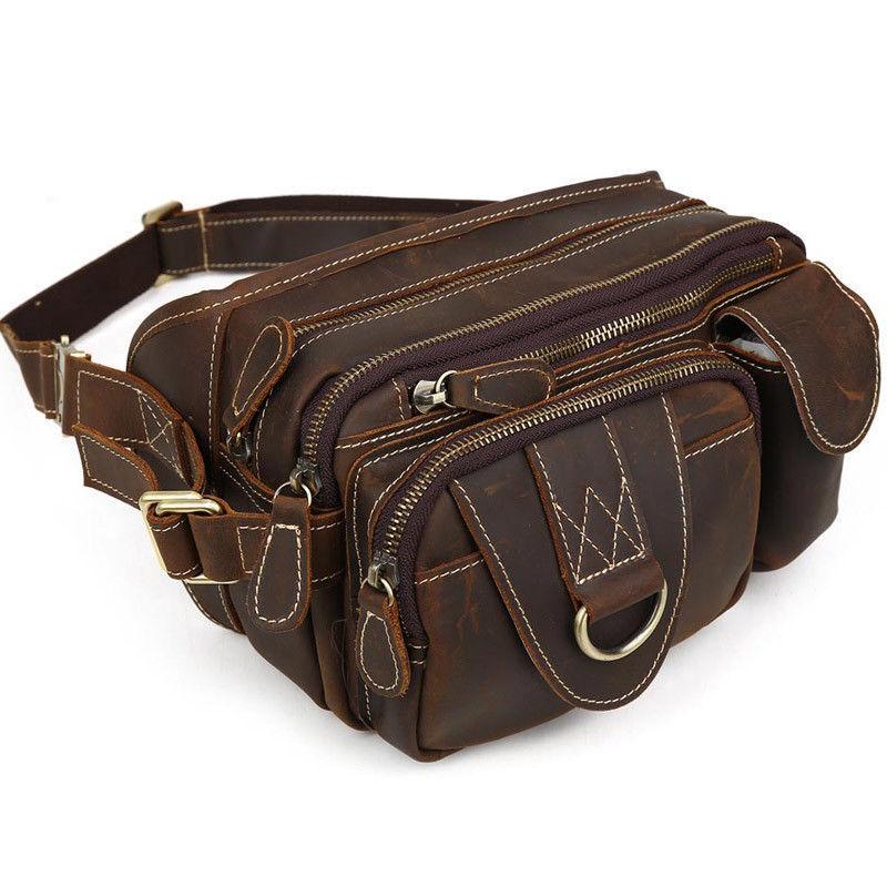 Vintage Leather Waist Bag For Men Fanny Pack Shoulder Sling
