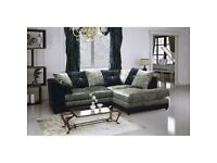 NEW R/H BLK/SIL CRUSH VELVET CORNER SOFA INCLUDES FREE FOOTSTOOL & DELIVERY ALL FOR ..£299.99