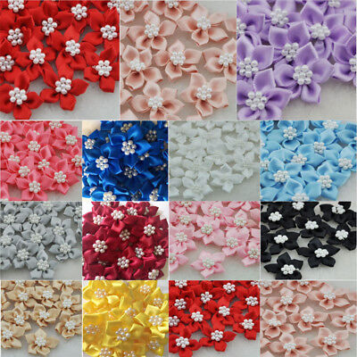 10/40/80pcs Pearls satin ribbon flowers with the Appliques Craft DIY Wedding  - Diy Ribbon Flowers