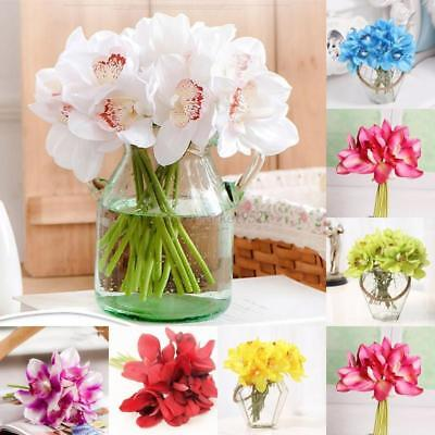 6 Head Cymbidium Orchid Fake Artificial Flower Wedding Bridal Bouquet Home Decor