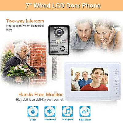 """7"""" Modern Unique Easy Install LCD Video Door Phone Doorbell Intercom Security US"""