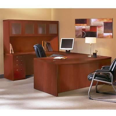 Mayline Aberdeen Executive U-shaped Desk 72 Wglass Door Hutch Package Cherry