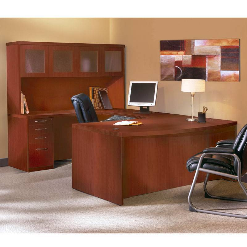 Mayline Aberdeen Executive U-shaped Desk 72 W/glass Door Hutch Package Cherry
