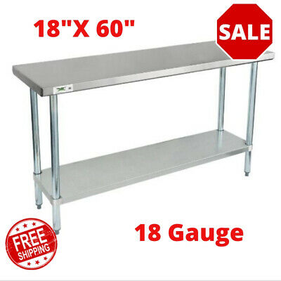 18 X 60 Stainless Steel Commercial Work Table With Galvanized Legs Undershelf