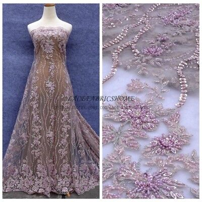 5color hot fashion show handmade heavy beaded wedding dress lace fabric 47'' - Handmade Fabric Fashion