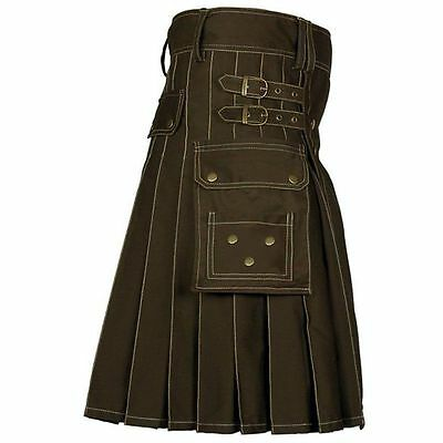 Brown Utility Kilt Highland Scottish Men Costume 100% Cotton Adult Handmade