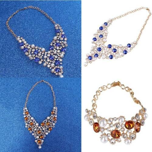 Women 4Pcs/Set Rhinestone Crystal Necklace Earrings Bracelet