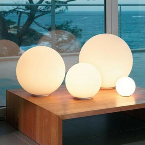 Modern Milky White Globe Glass Table Light Bedroom Desk Lamp