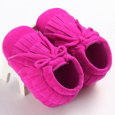 US Baby Tassel Soft Sole Leather Shoes Infant Boy Girl Toddler Moccasin 12