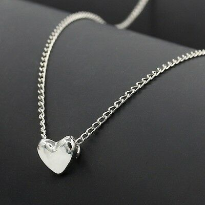 Stainless Steel Polished Heart Charm Pendant Necklace 18  Chain Women Girls Gift