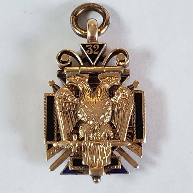1914 Masonic 32 Degree 14k Gold Enamel Watch Fob Tri Fold Harrisburg Pa
