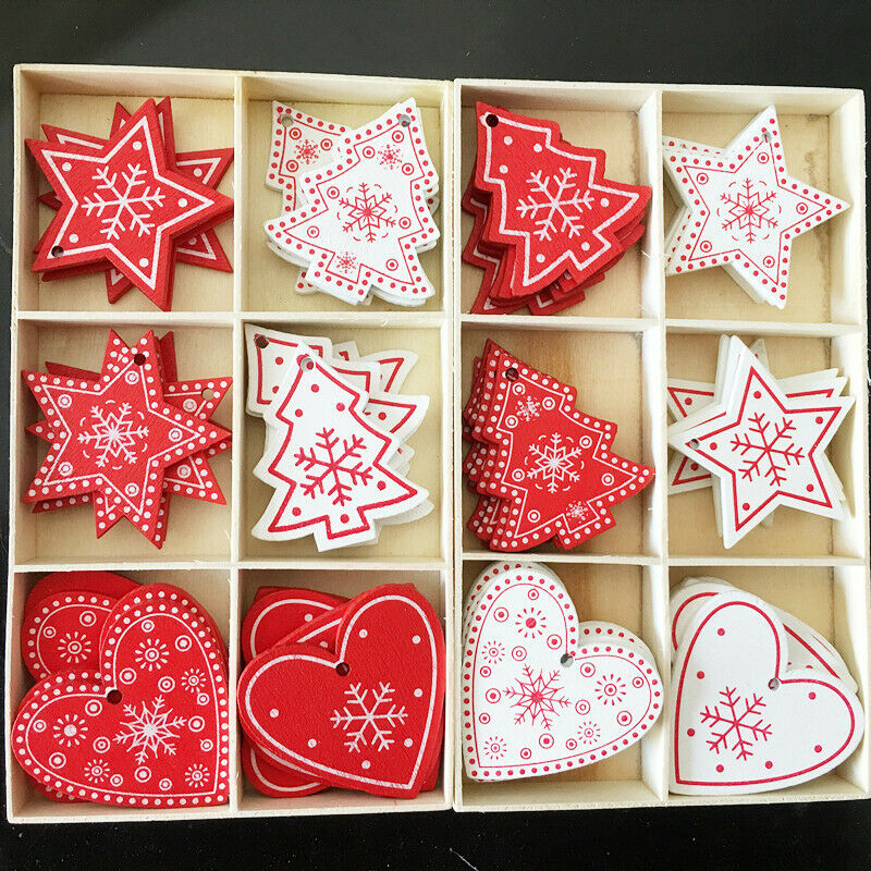 10pcs New Year Wooden Tag Christmas Gift Tree Hanging Ornaments Home Decor Red