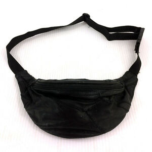 Small Black Leather Fanny Pack Vintage 90s Quilted Waist Bag Bum