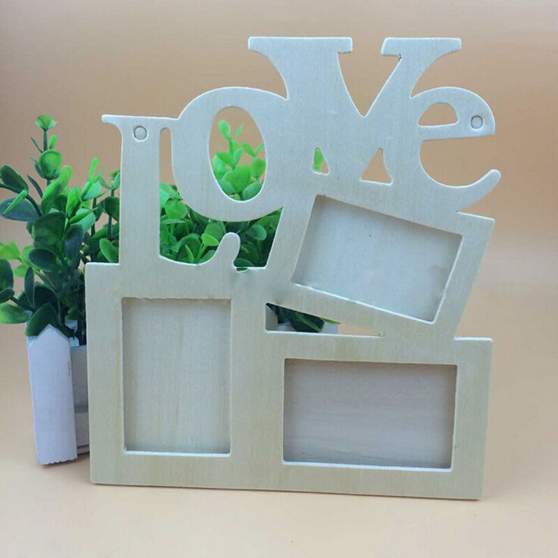 Durable lovely hollow love wooden photo picture frame for Home decor 2 love