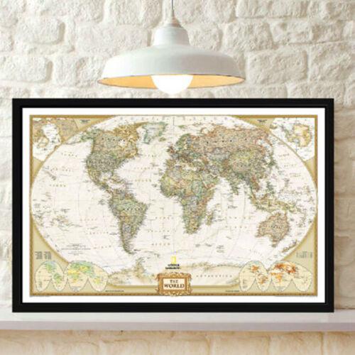 One Vintage Retro Paper World Map Antique ...