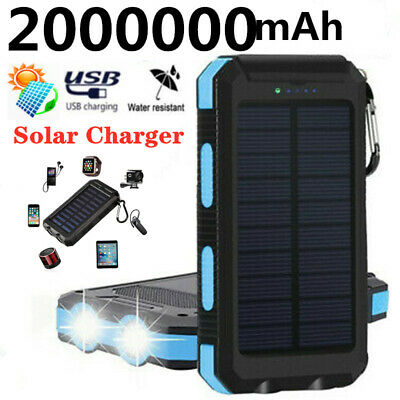 2000000mAh Solar Waterproof Power Bank 2 USB LED External Battery for Cell Phone