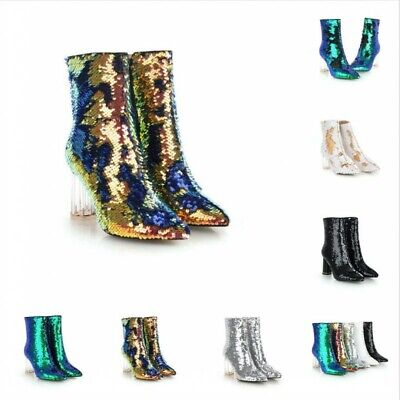 Womens Sequin Shining Pointed Toe Ankle Boots Clear Block Heels Side Zipper Pump](Sequin Gogo Boots)