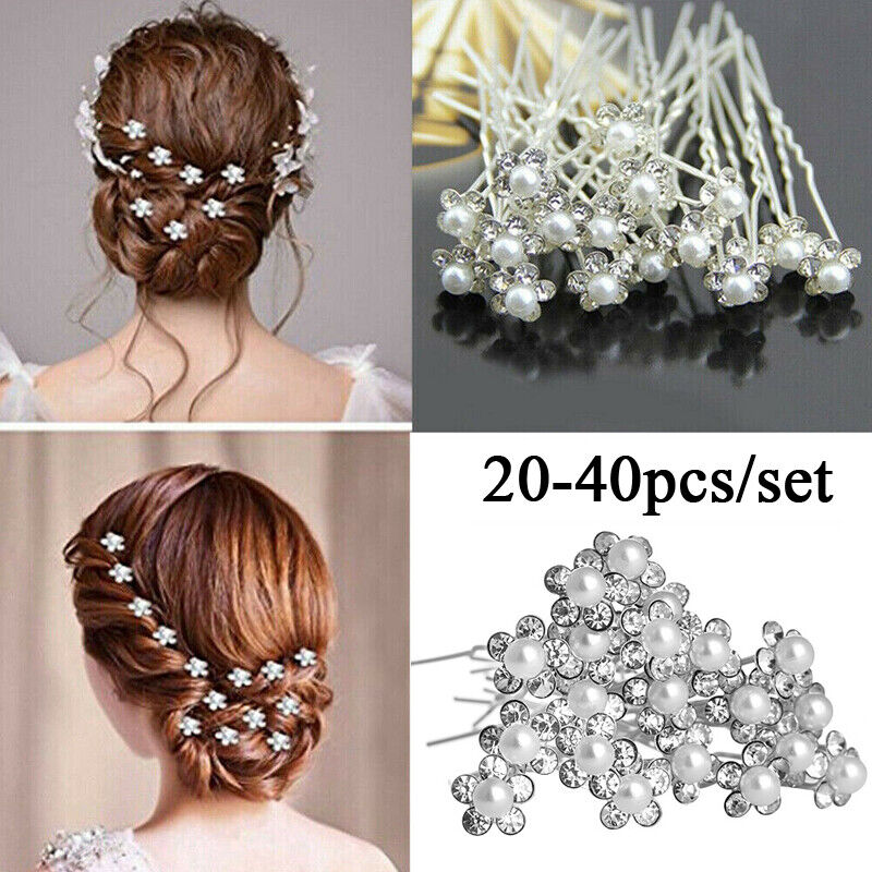 20/40pcs Bridal Pearl Flower Diamante Crystal Hair Pins Clips Prom Wedding Party