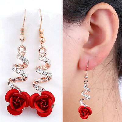 (Red Rose Flower Crystal Dangle Drop Earrings Hook Bridal Earrings Jewelry HK)