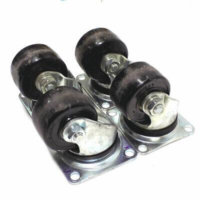 Lot Of 4 Yuei 2.5 X 1.5 Industrial Steel Heavy-duty Black Swivel Casters