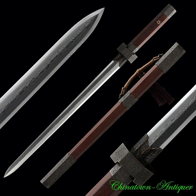 Sharp Spring w Autumn Period Style GanJiang Sword Pattern Steel Full Tang #2998