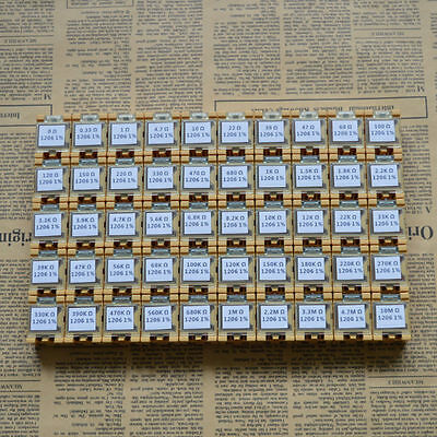 50 Value 1206 Smd Assorted Resistor Kit In Box 0r10mr5000pcs 0.25w 1rohs