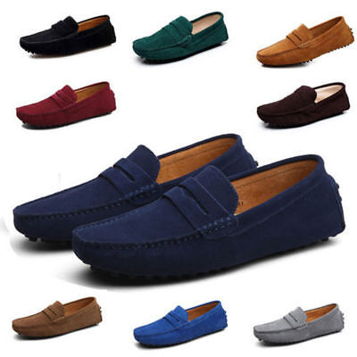 New Men Minimalism Driving Loafers Suede Leather Moccasins Slip On Penny - Athletic Suede Moccasins