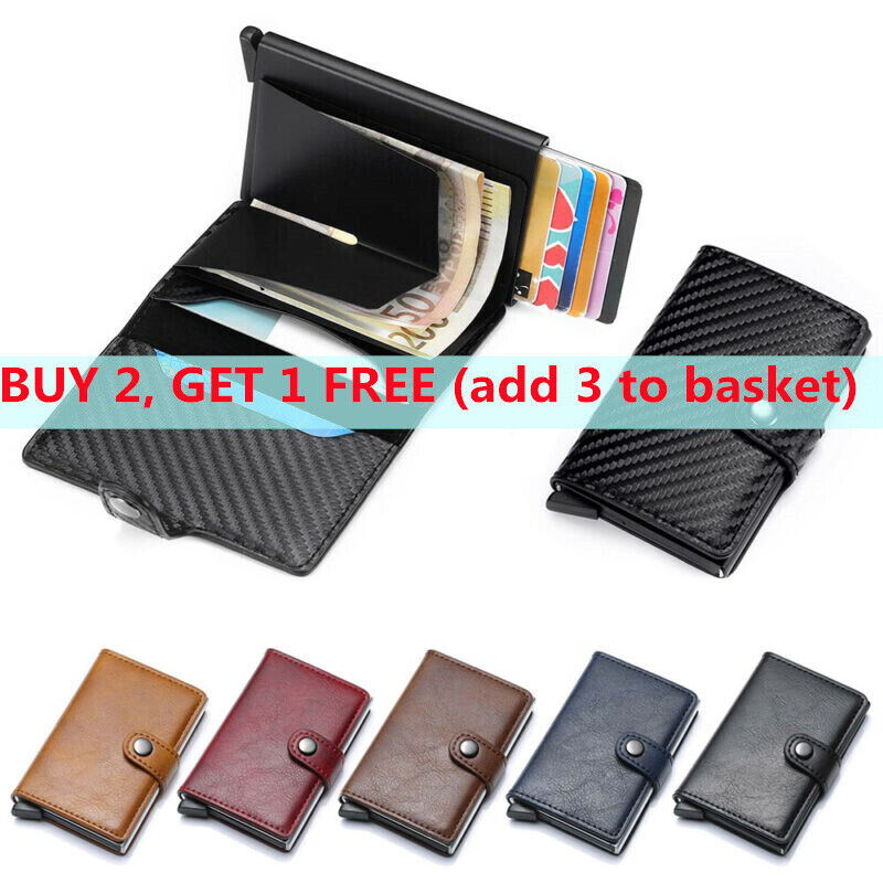 Anti-theft ID Card Holder Leather Slim Clip Wallet Purse Pop