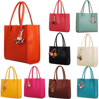 Fashion Woman Handbags Leather Shoulder Student Bag Candy Color Flowers Totes