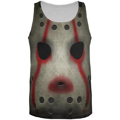 Halloween Horror Movie Hockey Mask Costume All Over Mens Tank Top - Film Over Halloween