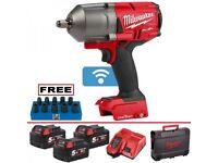 "Milwaukee M18ONEFHIWF12-503X 18v ONE KEY Fuel 1/2"" Impact Wrench Kit + 3x 5.0Ah Batts"