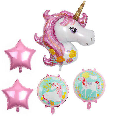 5PC Folie Helium Ballons Einhorn Stil Star Bouquet Mädchen Geburtstagsfeier Deko