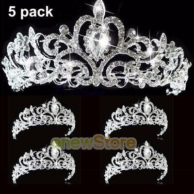 Princess Tiaras Bulk (5x Crystal Crown Headwear Bridal Wedding Hair Accessories Bride Tiaras Princess)