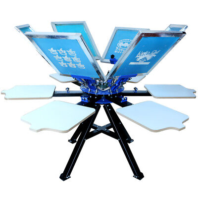 Top Quality 6 Color 6 Station Screen Printing Press Model-m Grade With Stand