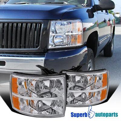 2007-2014 Chevy Silverado Euro Headlights Chrome/ Clear w/ Amber Reflector