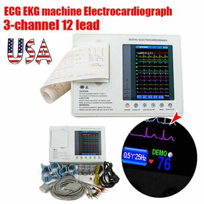 7 Portable Ecg Monitor Ekg Machine 3 Channel 12 Leads Electrocardiograph Color