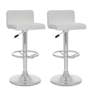 Contemporary Adjustable Height Bar Stool - Set of 2 - White New