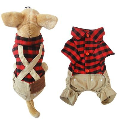 (Pet Puppy Plaid T-shirt Romper Overall Bib Pants Dog Jumpsuit Outfits Clothes US)