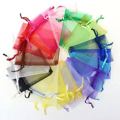 US 100pc Organza Gift Bags Jewelry Candy Bag Mesh Pouches Wedding Party Favors  (Mesh Gift Bags)