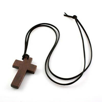 New Retro Men Women Brown Cross Pendant Christian Religious Wooden Wood Necklace