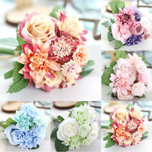 1-Bouquet-Artificial-Fake-Rose-Silk-Flower-Wedding-Party-Home-Garden-Decor-USA