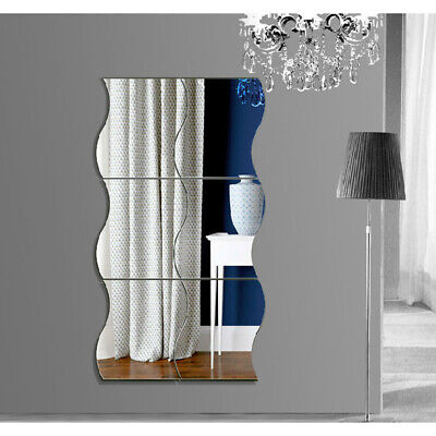 Home Decoration - 6PCS Home Mirror Wall Stickers Wave Decal Art Vinyl Room Decor DIY Removable