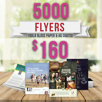 ⭐ 5000 Flyer Printing - 100lb Gloss Paper 2 Sided ONLY $160 ⭐