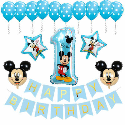 Mickey First Birthday Decorations (Mickey Mouse 1st Birthday Decorations Banner-Balloon for Birthday Party)
