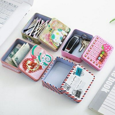 Mini Cute Cartoon Jewelry Storage Box Kawaii Tin Metal Gift Box Home Storage Box