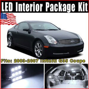 9x xenon white led interior lights package kit for 2003 2007 infiniti g35 coupe ebay. Black Bedroom Furniture Sets. Home Design Ideas