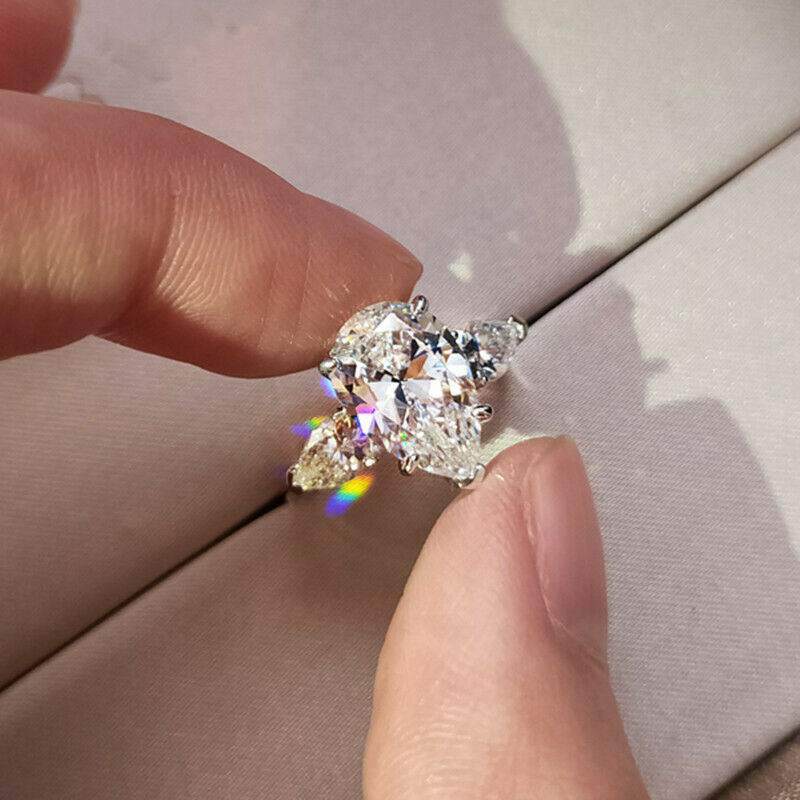 Cute 925 Silver Rings Women Cubic Zirconia Engagement Jewelry Gift Sz 6-10